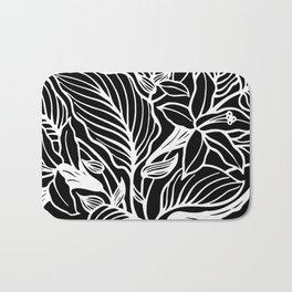 Black White Floral Minimalist Bath Mat
