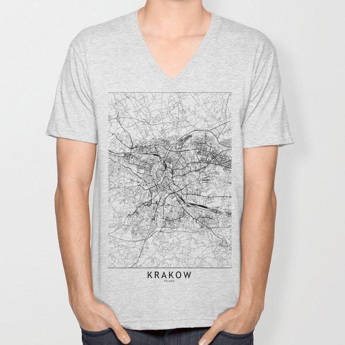Krakow White Map Unisex V-Neck