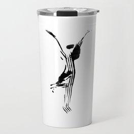 Black and white, minimalist, modern yoga pose illustration for yoga studio, yoga art, drawing, om Travel Mug