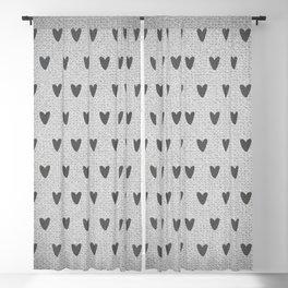 Grey Hearts Blackout Curtain