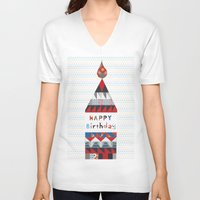 happy birthday V-neck T-shirts featuring Happy birthday by Varsha