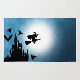 Blue Halloween Witch Silhouette Rug