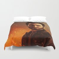 derek hale Duvet Covers featuring Hale fire  by Inkforwords