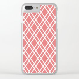 Coral and white rhombus lines pattern Clear iPhone Case