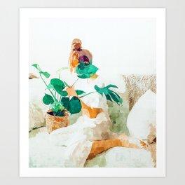 Me + Monstera #painting #minimal Art Print
