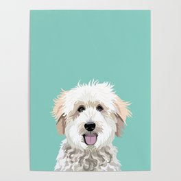 Golden Doodle pet portrait art print and dog gifts Poster