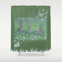 Easter bunnies on the meadow Shower Curtain