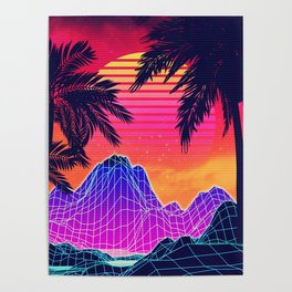 Neon glowing grid rocks and palm trees, futuristic landscape design Poster