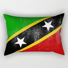 St Kitts and Nevis Distressed Halftone Denim Flag Rectangular Pillow