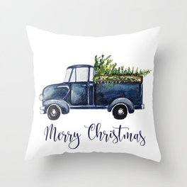 Blue Christmas Truck Throw Pillow