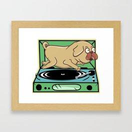 Pug on a turntable Framed Art Print
