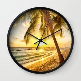 Beach - Palm Trees - Ocean - Shore - Sand - Nature - Sun Wall Clock