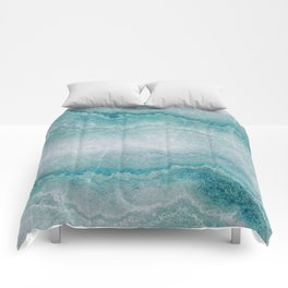 Sea green marble texture Comforters