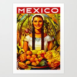 Vintage Bountiful Mexico Travel Art Print