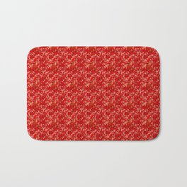 Camouflaged hunt on red Bath Mat