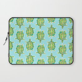 Tortoise Pattern with aqua background Laptop Sleeve