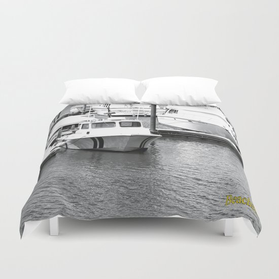 Boats BW Duvet Cover