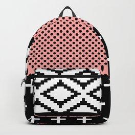 Elegant Pink, White, & Black Modern Geometric Backpack