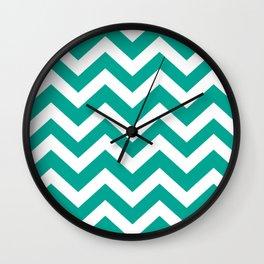 Persian green - green color - Zigzag Chevron Pattern Wall Clock