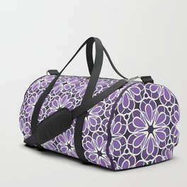 Symmetric Flower Pattern in Purple Duffle Bag