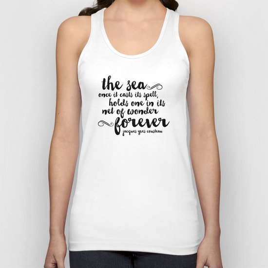 The Sea - Quote from Jacques Cousteau Unisex Tank Top