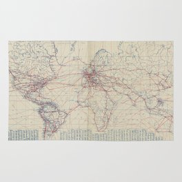 Vintage World Air Travel Map (1919) Rug