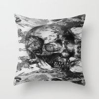 psychadelic Throw Pillows featuring Black and White Psychadelic skull print  by Seawolf Designs
