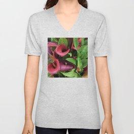 Red Magenta Calla Lilies Elegant Photo Art Unisex V-Neck