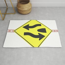 """""""Divided highway"""" - 3d illustration of yellow roadsign isolated on white background Rug"""