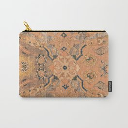 Persian Motif IV // 17th Century Ornate Rose Gold Silver Royal Blue Yellow Flowery Accent Rug Patter Carry-All Pouch