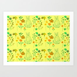 Cat in the garden - Pattern Art Print
