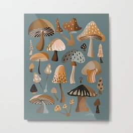 Mushroom Collection – Neutral Palette Metal Print