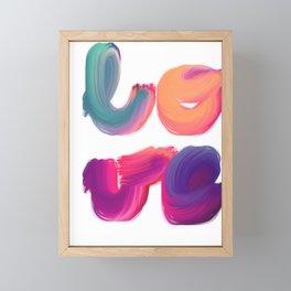 l-o-v-e brightly coloured painted lettering Framed Mini Art Print