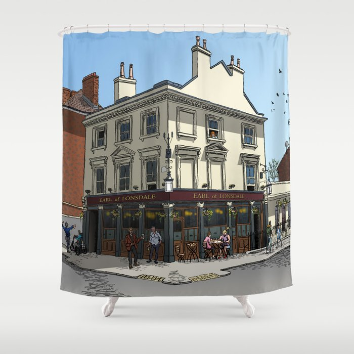 Pigeons Over London Shower Curtain