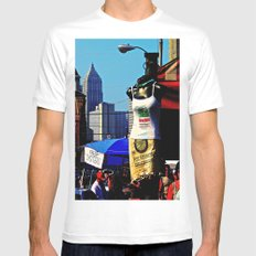 Strip District Model MEDIUM White Mens Fitted Tee