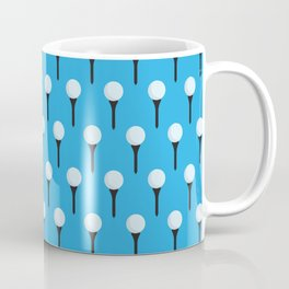Golf Ball & Tee Pattern (Light Blue) Coffee Mug
