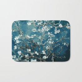 Van Gogh Almond Blossoms : Dark Teal Bath Mat