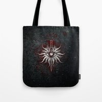 dragon age inquisition Tote Bags featuring The Inquisition by Toronto Sol