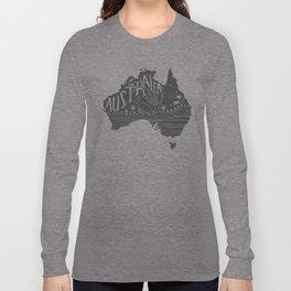 Australia map typo doodle Long Sleeve T-shirt