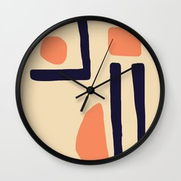 Coral and Blue Wall Clock