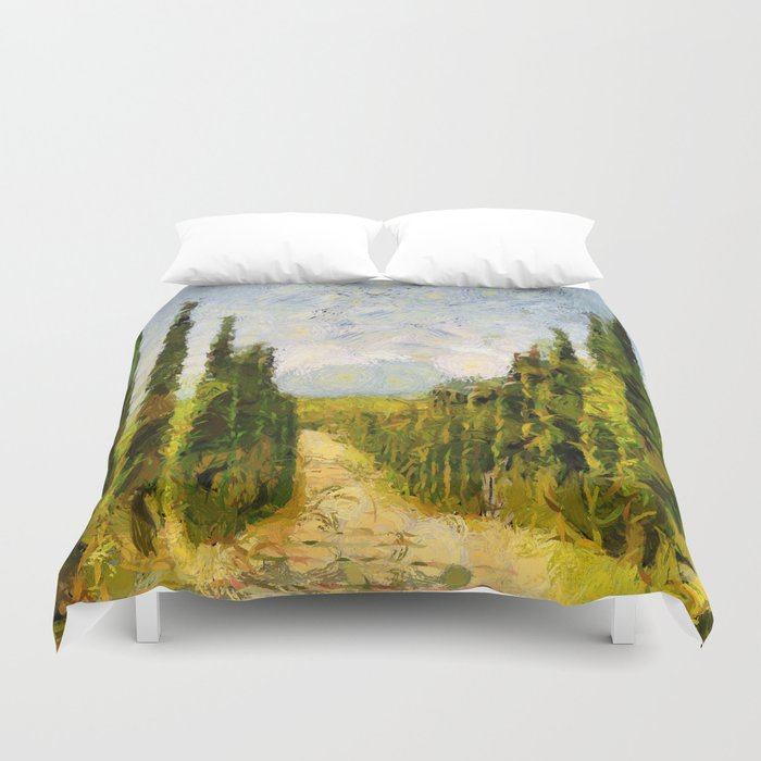 Rural landscape with cypresses Duvet Cover