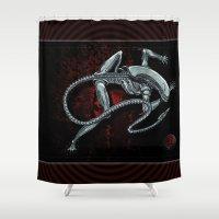 xenomorph Shower Curtains featuring Darrell Merrill Nerd Artist Xenomorph by Nerd Artist DM
