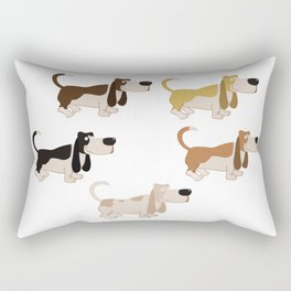 Basset Hound Colors Illustration Rectangular Pillow