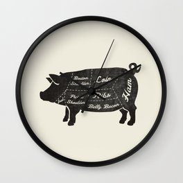 PORK BUTCHER DIAGRAM (pig) Wall Clock