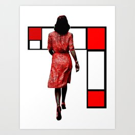 Red Dress In The City Art Print