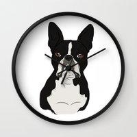boston terrier Wall Clocks featuring Boston Terrier by Rachel Barrett