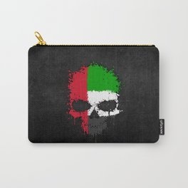 Flag of United Arab Emirates on a Chaotic Splatter Skull Carry-All Pouch