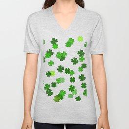 Shamrocks Falling - Pattern for Saint Patricks Day Unisex V-Neck