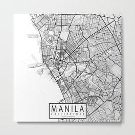 Manila City Map of Philippines Metal Print