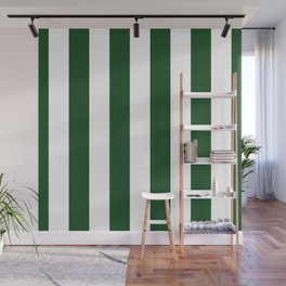 Jumbo Forest Green and White Rustic Vertical Cabana Stripes Wall Mural
